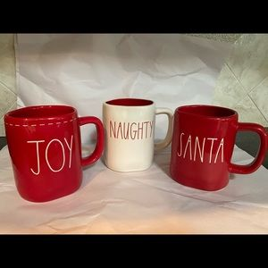 Raw Dunn set of 3 Christmas mugs